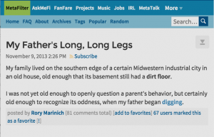 My Father's Long Long Legs on MetaFilter