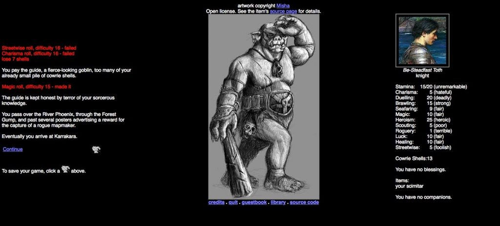 Screen shot showing gameplay, a black and white illustration of a troll carrying a club, and character stats from Age of Fable