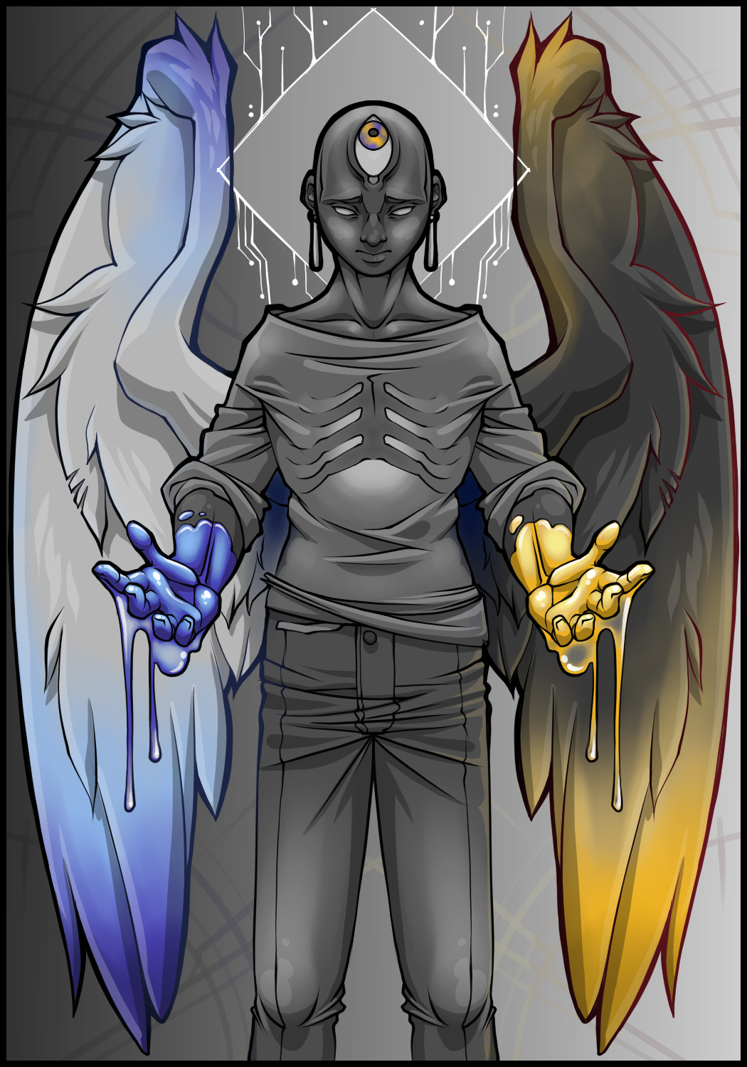 A grey figure with a third eye in the center of their forehead and with wings holds out their hands. One is covered in blue paint, the other in yellow. The paint stains their wings.